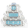 Little Miracle Boy Blue & Brown Cross - Personalized Baby Shower Square Diaper Cakes - 3 Tier