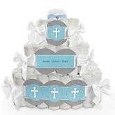 Little Miracle Boy Blue & Gray Cross - 3 Tier Personalized Square Baby Shower Diaper Cake