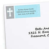 Little Miracle Boy Blue & Gray Cross - Personalized Baby Shower Return Address Labels - 30 ct
