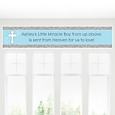 Little Miracle Boy Blue & Gray Cross - Personalized Baby Shower Banner