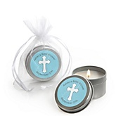Little Miracle Boy Blue & Gray Cross - Candle Tin Personalized Baby Shower Favors
