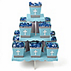 Little Miracle Boy Blue & Gray Cross - Baby Shower Candy Stand and 13 Candy Boxes
