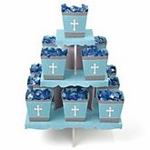 Little Miracle Boy Blue & Gray Cross - Baby Shower Candy Stand & 13 Fill Your Own Candy Boxes