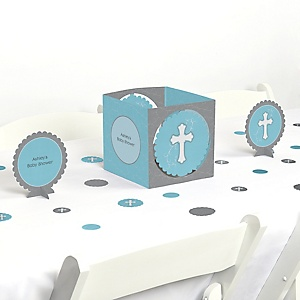 Little Miracle Boy Blue & Gray Cross - Baby Shower Centerpiece & Table Decoration Kit
