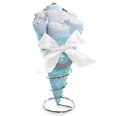 Little Miracle Boy Blue & Gray Cross - Baby Shower Diaper Bouquets
