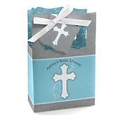Little Miracle Boy Blue & Gray Cross  - Personalized Baby Shower Favor Boxes