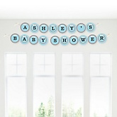 Little Miracle Boy Blue & Gray Cross - Personalized Baby Shower Garland Banner