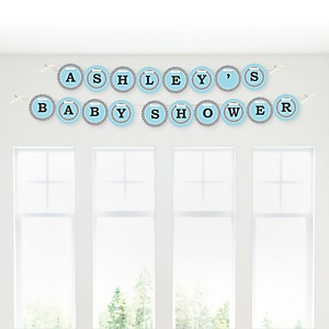 Little Miracle Boy Blue & Gray Cross - Personalized Baby Shower Garland Letter Banners