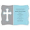 Little Miracle Boy Blue & Gray Cross  - Personalized Baby Shower Invitations