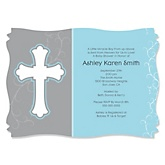 Little Miracle Boy Blue & Gray Cross  - Baby Shower Invitations
