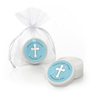 Little Miracle Boy Blue & Gray Cross - Personalized Baby Shower Lip Balm Favors