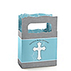 Little Miracle Boy Blue & Brown Cross - Personalized Baby Shower Mini Favor Boxes