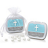 Little Miracle Boy Blue & Brown Cross - Personalized Baby Shower Mint Tin Favors