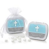 Little Miracle Boy Blue & Gray Cross - Mint Tin Personalized Baby Shower Favors