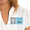 Little Miracle Boy Blue & Gray Cross - Personalized Baby Shower Name Tag Stickers - 8 ct