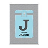 Little Miracle Boy Blue & Gray Cross - Personalized Baby Shower Poster Gifts