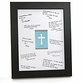 Little Miracle Boy Blue & Gray Cross - Personalized Baby Shower Print with Signature Mat