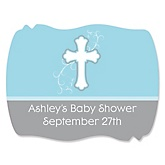 Little Miracle Boy Blue & Gray Cross - Personalized Baby Shower Squiggle Sticker Labels - 16 Count