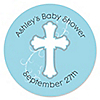 Little Miracle Boy Blue & Brown Cross - Personalized Baby Shower Sticker Labels - 24 ct