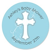 Little Miracle Boy Blue & Gray Cross - Personalized Baby Shower Round Sticker Labels - 24 Count