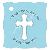 Little Miracle Boy Blue & Gray Cross - Personalized Baby Shower Tags - 20 Count
