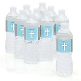 Little Miracle Boy Blue & Gray Cross - Baby Shower Personalized Water Bottle Sticker Labels - 10 Count