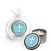 Little Miracle Boy Blue & Brown Cross - Personalized Baptism Candle Tin Favors