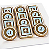 Little Miracle Boy Blue & Brown Cross - Personalized Baptism Cookies