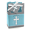 Little Miracle Boy Blue & Brown Cross - Personalized Baptism Favor Boxes
