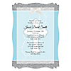 Little Miracle Boy Blue & Gray Cross - Personalized Baptism Vellum Overlay Invitations