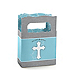 Little Miracle Boy Blue & Brown Cross - Personalized Baptism Mini Favor Boxes