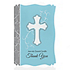 Little Miracle Boy Blue & Brown Cross - Personalized Baptism Thank You Cards
