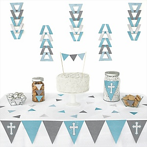 Little Miracle Boy Blue & Gray Cross - 72 Piece Triangle Party Decoration Kit