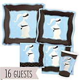 Mommy Silhouette It's A Boy  - Baby Shower Tableware Bundle for 16 Guests