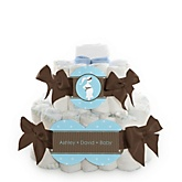 Mommy Silhouette It's A Boy - 2 Tier Personalized Square Baby Shower Diaper Cake