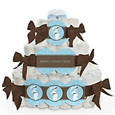 Mommy Silhouette It's A Boy - 3 Tier Personalized Square Baby Shower Diaper Cake