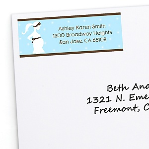 Mommy Silhouette It's A Boy - Personalized Baby Shower Return Address Labels - 30 ct