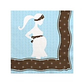 Mommy Silhouette It's A Boy - Baby Shower Beverage Napkins - 16 Pack