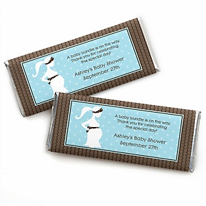 Mommy Silhouette It's A Boy - Personalized Baby Shower Candy Bar Wrapper Favors