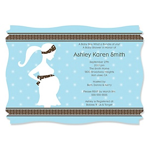 Mommy Silhouette It's A Boy - Personalized Baby Shower Invitations