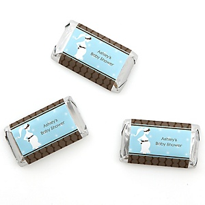 Mommy Silhouette It's A Boy - Personalized Baby Shower Mini Candy Bar Wrapper Favors - 20 ct