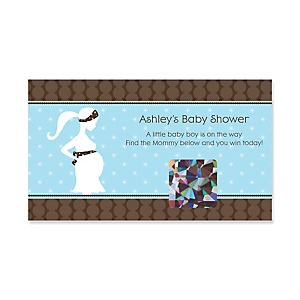 Mommy Silhouette It's a Boy - Personalized Baby Shower Game Scratch Off Cards - 22 ct
