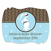 Mommy Silhouette It's A Boy - Personalized Baby Shower Squiggle Sticker Labels - 16 Count