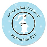 Mommy Silhouette It's A Boy - Personalized Baby Shower Round Sticker Labels - 24 Count