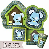 Boy Puppy Dog - Baby Shower Tableware Bundle for 16 Guests