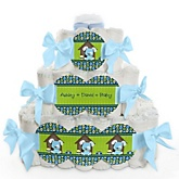 Boy Puppy Dog - 3 Tier Personalized Square Baby Shower Diaper Cake
