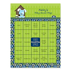 Boy Puppy Dog - Bingo Personalized Baby Shower Games - 16 Count