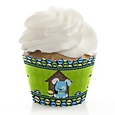 Boy Puppy Dog - Baby Shower Cupcake Wrappers & Decorations
