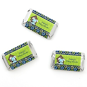 Boy Puppy Dog - Personalized Baby Shower Mini Candy Bar Wrapper Favors - 20 ct