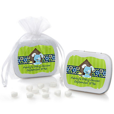 Boy Puppy Dog - Mint Tin Personalized Baby Shower Favors...